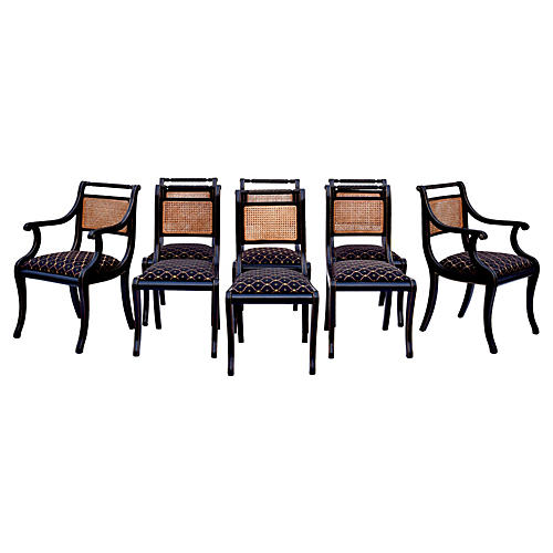 Regency Caned Dining Chairs, S/8