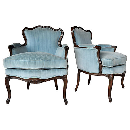 French Provincial Berger'e Chairs, Pair
