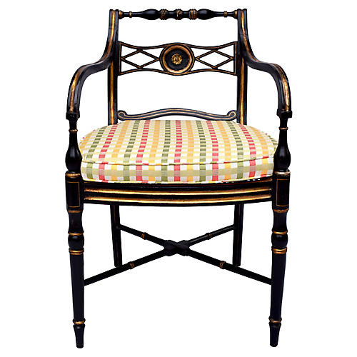 Antique Caned Regency Armchair