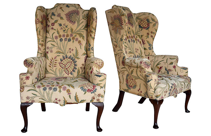 English Queen Anne Style High Back Chair