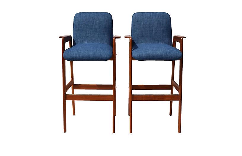 Danish Modern Teak Bar Stool Chairs