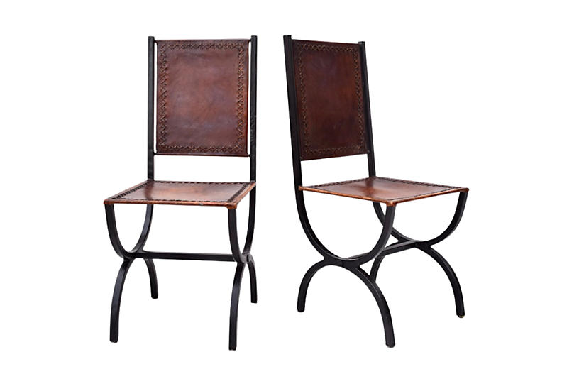 Leather Curule Form Dining Chairs, Pair
