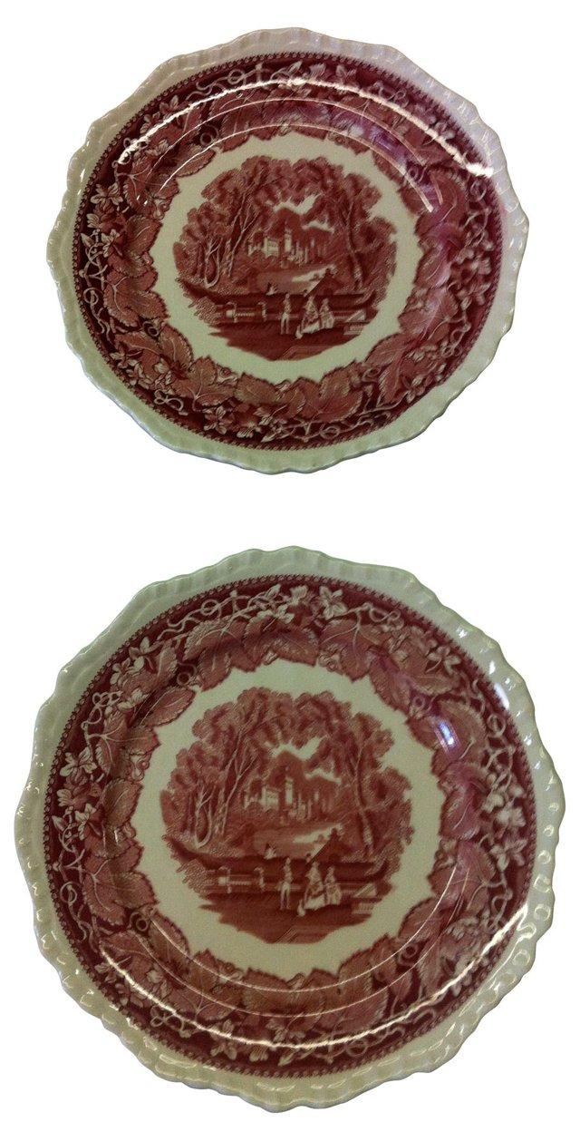 Red & White Mason's Plates, Pair