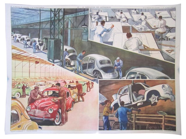 Midcentury French Car Factory Poster