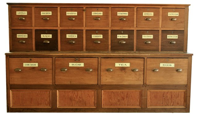 19th-C. English Seed/Grocery Cabinet