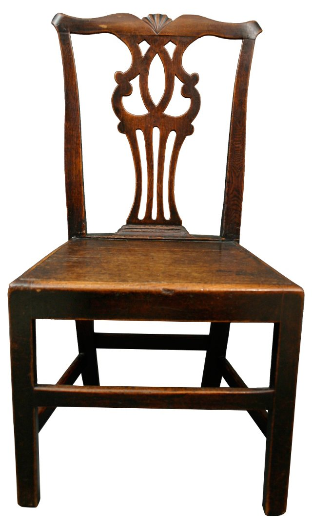 19th-C. Chippendale Elm & Oak Chair