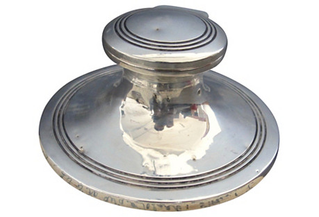 Solid Silver English Capstan Inkwell