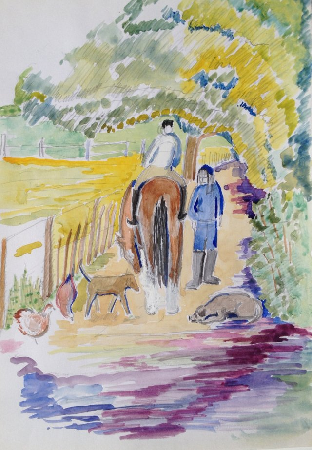 Horse & Rider on Country Lane
