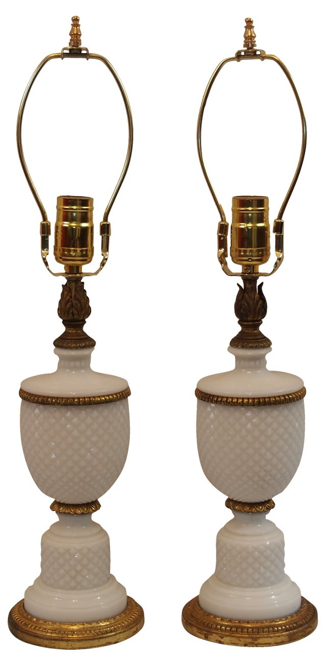 Milk Glass & Gilt Lamps, Pair