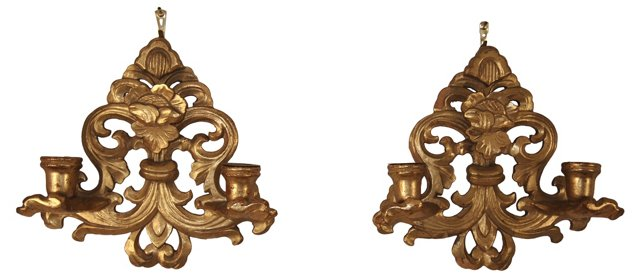 Italian Giltwood Sconces, Pair
