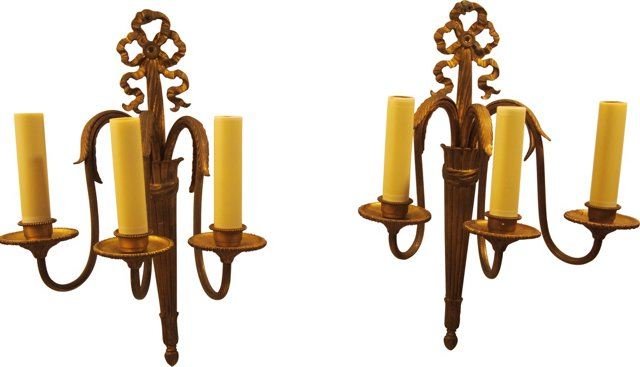 French Ribbon-Top Sconces, Pair