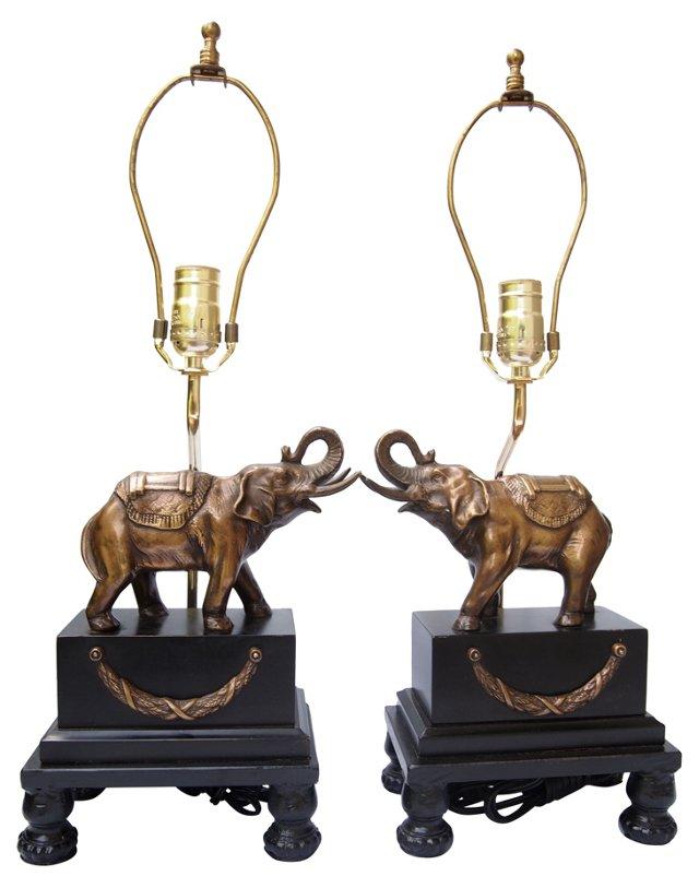 Brass Elephant Lamps, Pair
