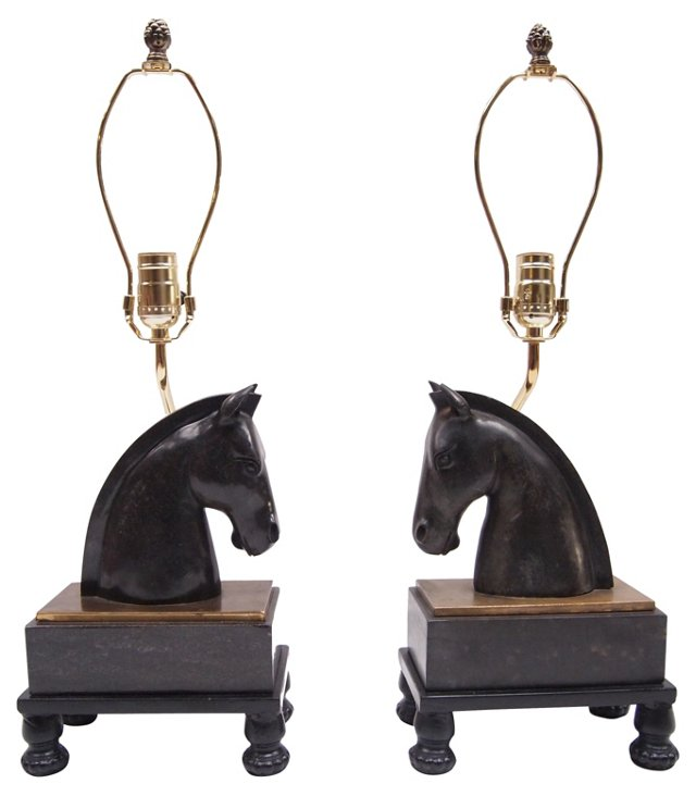 Marble Horse Head Lamps, Pair