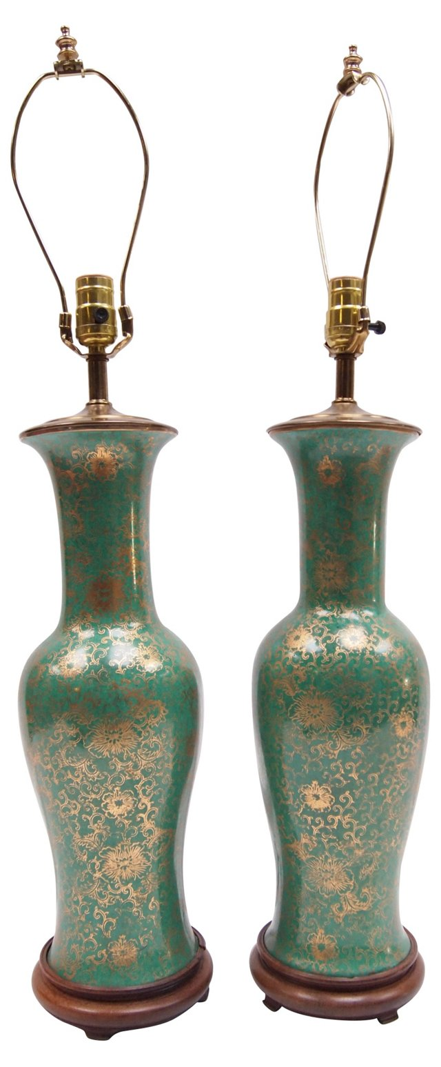 Chinese Porcelain Lamps, Pair