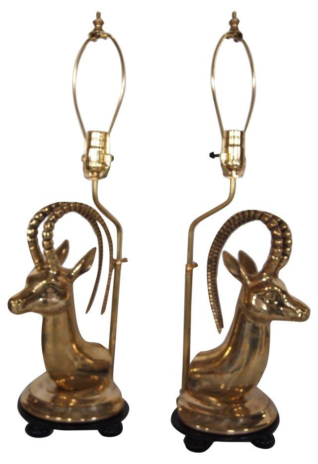 Brass Antelope Lamps, Pair
