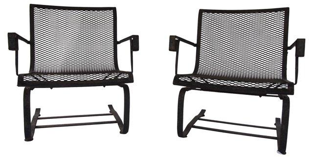 Iron  Lounge Chairs, Pair