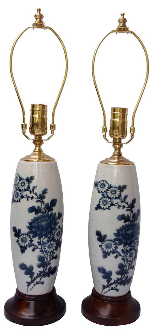1920s Chinese Blue & White Lamps, Pair