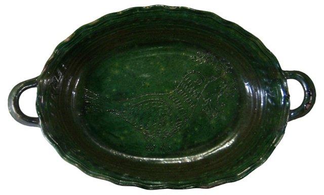 Oval Green Glaze Bowl