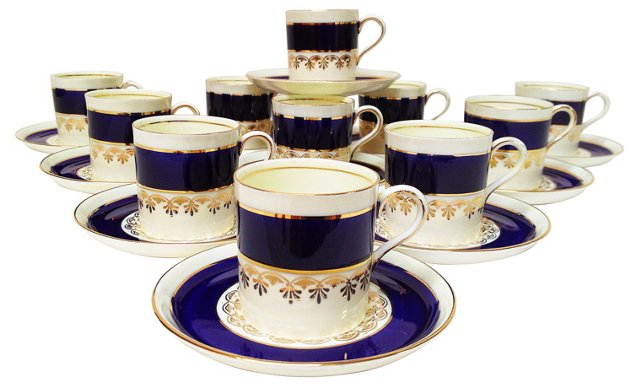 Ansley Cups & Saucers, Set of 22