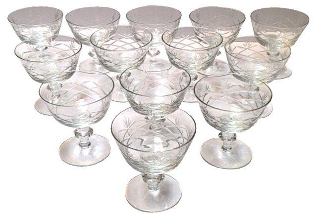 Cut-Crystal Sherbet Glasses, S/13