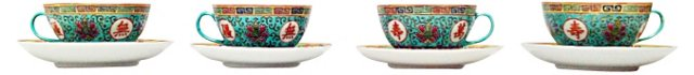 Chinese Famille Teacup Set, 8 Pcs