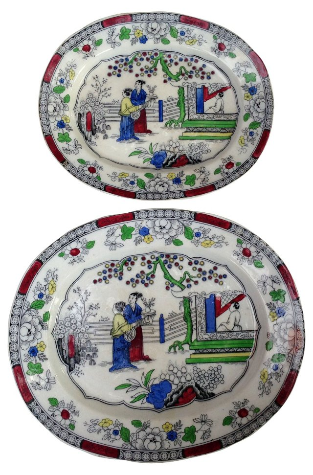 19th-C. Chinoiserie Wall Platters, Pair