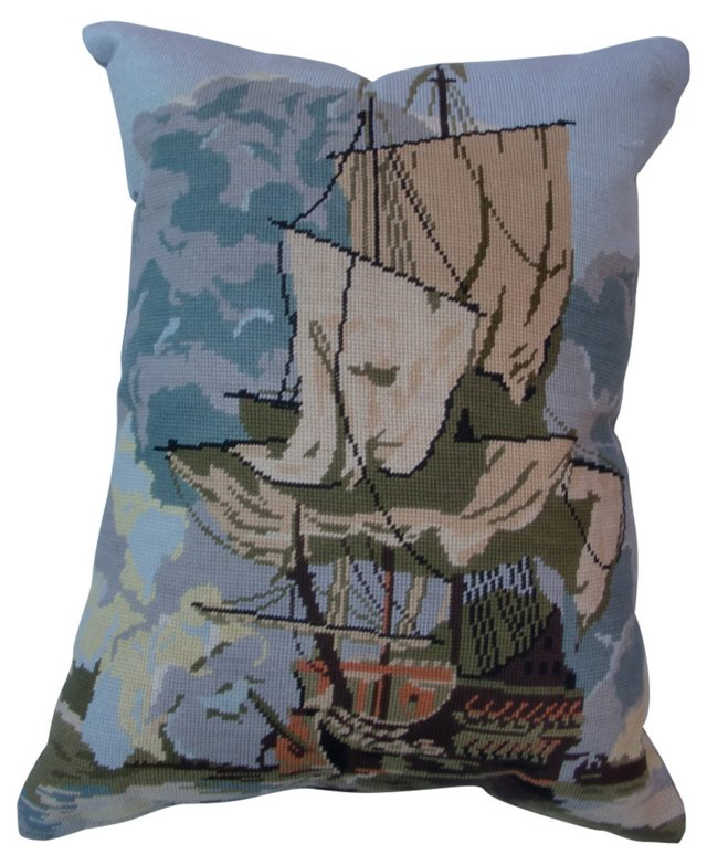 French Galleon Ship Needlepoint Pillow