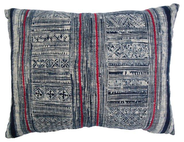 Pillow w/  Blue & White Batik