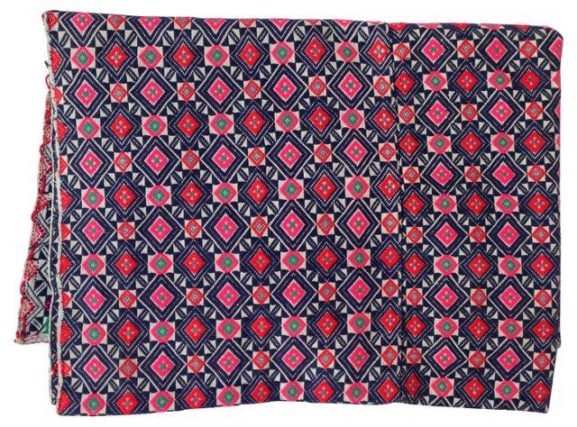 Hmong Embroidered Silk Wedding    Quilt