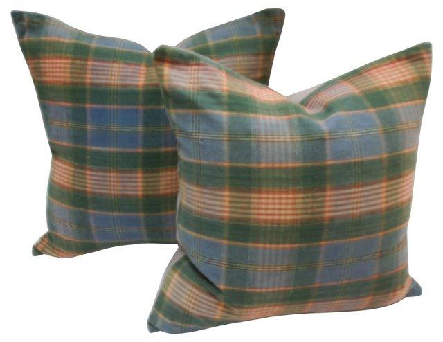 Plaid  Madras Pillows, Pair
