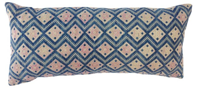 Blue & Pink Hmong Embroidered Pillow