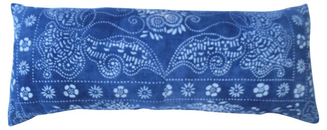 Indigo Butterfly Batik Pillow