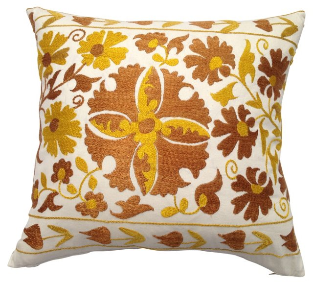 Hand-Embroidered Silk   Suzani Pillow