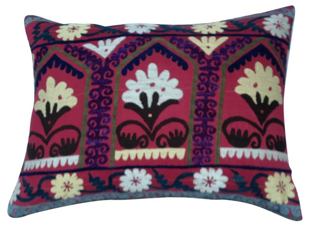 Silk Suzani   Floor    Pillow