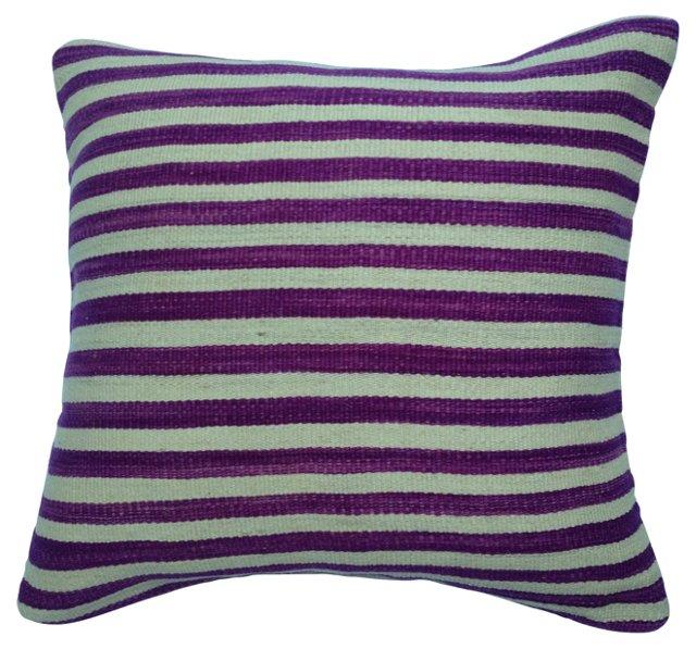 Purple-Striped Kilim Pillow