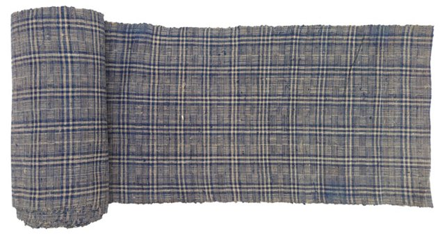 Handspun Nubby Plaid Linen, 6.7 Yds
