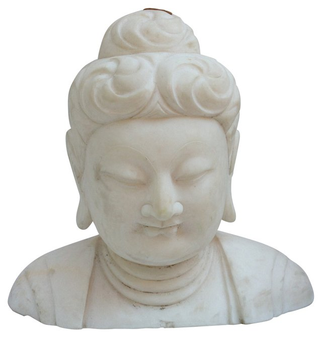 White Marble Bust of Buddha