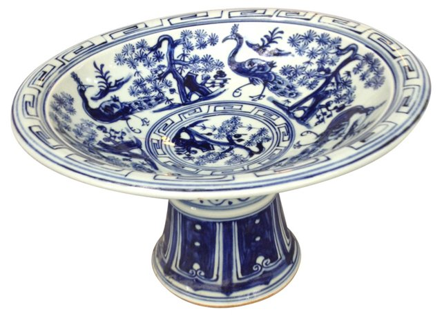 Blue & White Pedestal Peacock Bowl