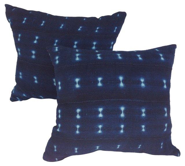African Indigo Mud Cloth Pillows, Pair
