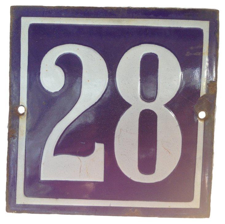 French Enamel Street Number,  28