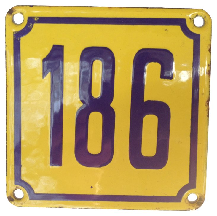 French Enamel Street Number, 186