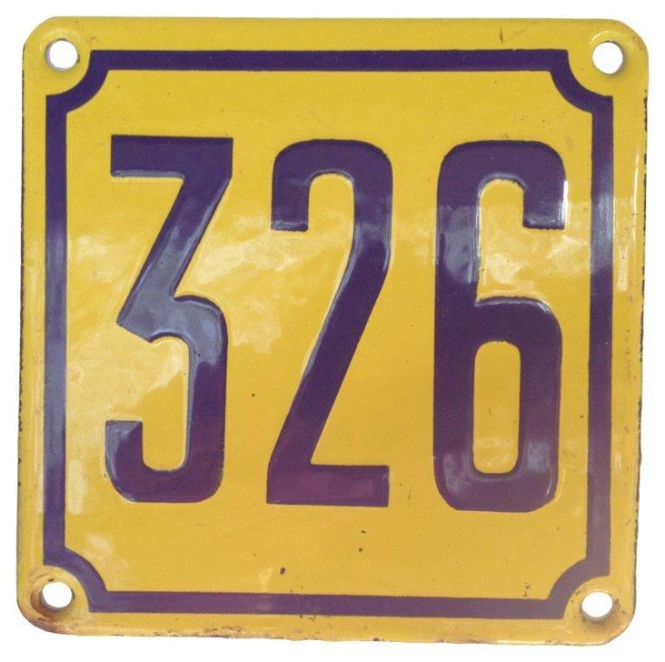 French Enamel Street Number, 326