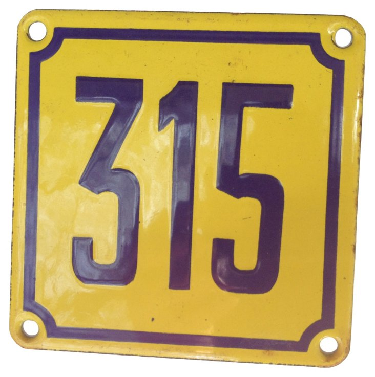 French Street Number Sign, 315