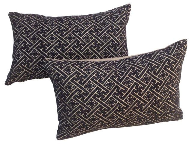 Blue & White Hmong Pillows,  Pair