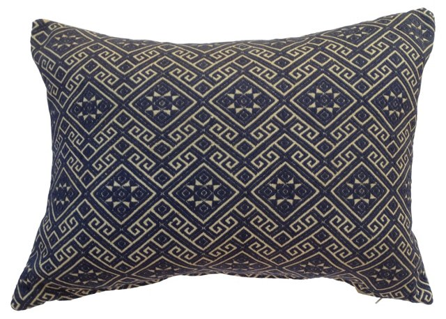 Blue & White Tribal   Quilt Pillow