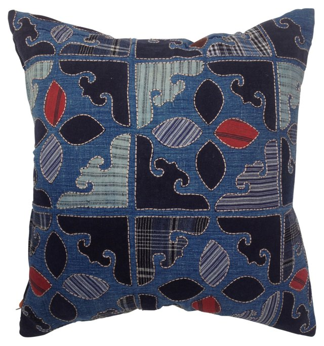Pillow w/  Antique  Indigo Fragments
