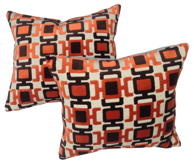Abstract Velvet   Pillows, Pair