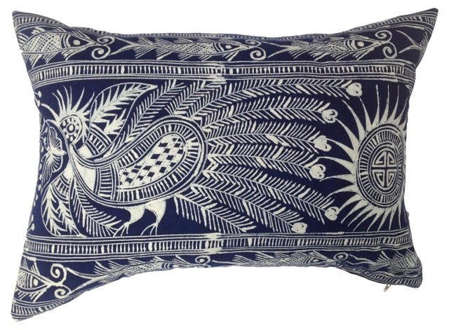 Hand-Blocked Indigo Batik   Pillow