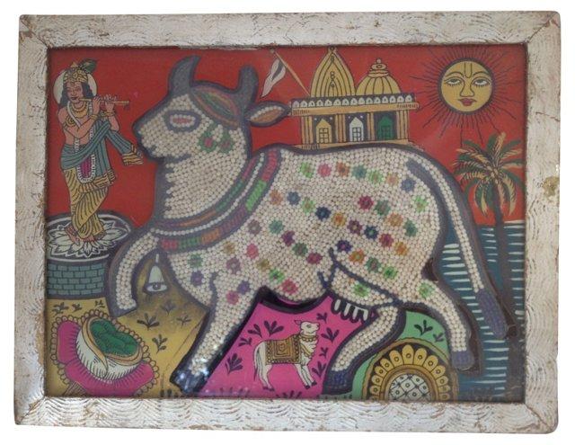 Indian Beaded   Églomisé Cow