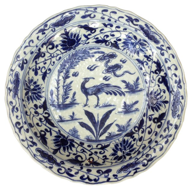 Blue & White  Bowl w/ Crane